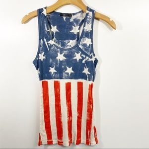 T Party American Flag Racer Back Tank